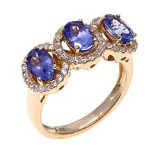 14K Gold 2.21ctw Tanzanite and Zircon Ring