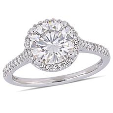 14K Gold 2ct Moissanite and 0.23ctw Diamond Halo-Design Solitaire Ring