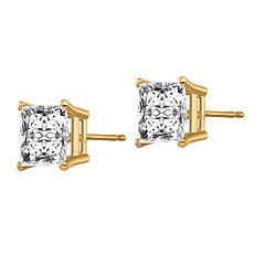 14K Gold 3.4ctw Moissanite Square Brilliant-Cut Stud Earrings