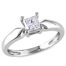 14K Gold .5ct Princess-Cut White Diamond Solitaire Ring