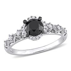 14K Gold .72ctw Black and White Diamond Halo Infinity Engagement Ring