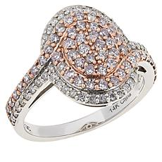 14K Gold .75ctw Pink and White Diamond Oval Pavé Ring