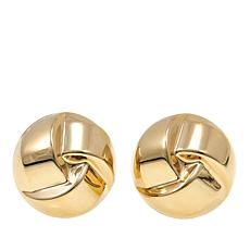 14K Gold Clip-On Twisted Knot Button Stud Earrings