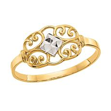 14K Gold Diamond-Cut Filigree Ring