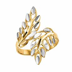 14K Gold Diamond-Cut Leaves Bypass Ring