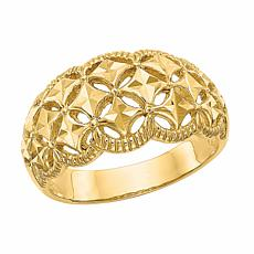 14K Gold Diamond-Cut Patterned and Scalloped Edge Dome Ring