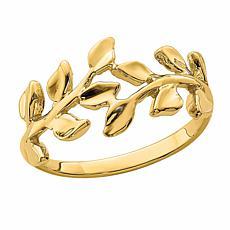 14K Gold Leaf Band Ring