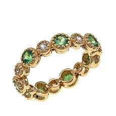 14K Gold Mint Green Garnet & Zircon Eternity Band Ring
