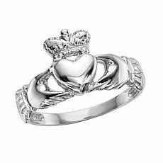 14K Gold Polished Claddagh Ring