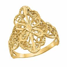14K Gold Polished Filigree Shield Ring