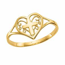 14K Gold Polished Heart with Cross Ring