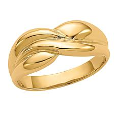14K Gold Polished Twisted Dome Ring