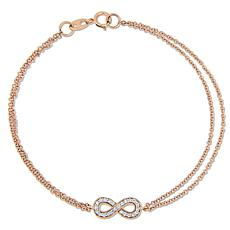 "14K Rose Gold 0.12ctw Diamond Infinity-Design 7"" Bracelet"