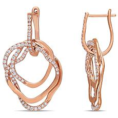 14K Rose Gold 1.05ctw Diamond Entwined Drop Earrings