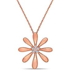 14K Rose Gold .11ctw Diamond Flower Necklace