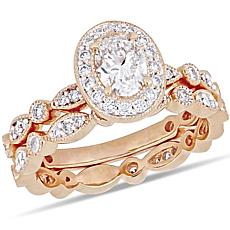 "14K Rose Gold 1ctw Diamond ""Vintage"" Halo Bridal Ring Set"