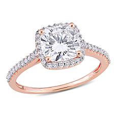 14K Rose Gold 2.25ctw Moissanite and .23ctw Diamond Halo Ring