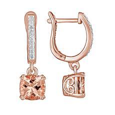 14K Rose-Gold Plated Cushion-Cut Morganite and Diamond Earrings