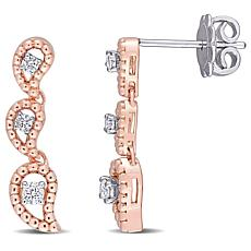 14K Two-Tone Gold .21ctw Diamond Graduated Leaf Earrings