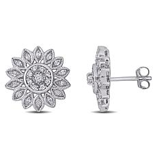 14K White Gold 0.25ctw Diamond Flower Stud Earrings