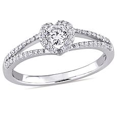 14K White Gold 0.44ctw Diamond Round Engagement Ring