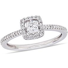 14K White Gold 0.47ctw Cushion-Cut Diamond Engagement Ring