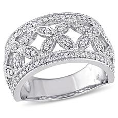 14K White Gold 0.50ctw Diamond Openwork Marquise Design Ring