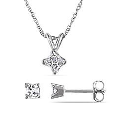 14K White Gold  0.65ctw Diamond Princess-Cut Earrings and Pendant