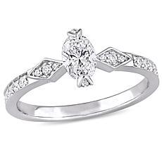 14K White Gold 0.75ctw Diamond Oval Center Ring