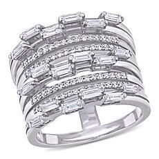 "14K White Gold 0.90ctw Diamond ""Vintage"" Coil Ring"