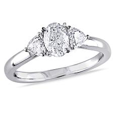 14K White Gold 0.94ctw 3-Stone Diamond Engagement Ring