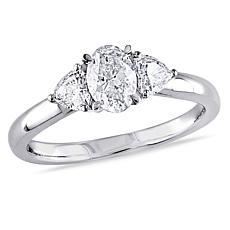 14K White Gold 0.94ctw 3-Stone Diamond Engagement Ring