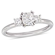 14K White Gold 0.97ctw Cushion-Cut Diamond 3-Stone Engagement Ring