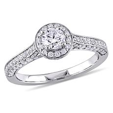 14K White Gold 0.97ctw Diamond Halo Engagement Ring