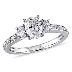14K White Gold 1.1ctw Diamond 3-Stone Ring