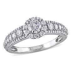 14K White Gold 1ctw Diamond Round Halo Engagement Ring