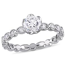 14K White Gold 1ctw Diamond Round with Bezel Sides Ring