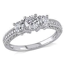 14K White Gold 1ctw Round White Diamond 3-Stone Ring