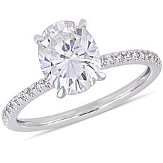 14K White Gold 2.11ctw Moissanite Solitaire and Diamond Accent Ring