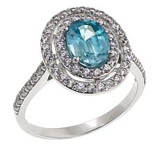 14K White Gold 2.24ctw Blue and White Zircon Ring
