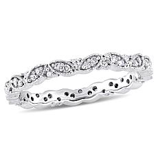 "14K White Gold .24ctw Diamond ""Leaf"" Eternity Band Ring"