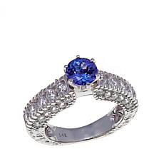 14K White Gold 2.79ctw Tanzanite and  Zircon Band Ring