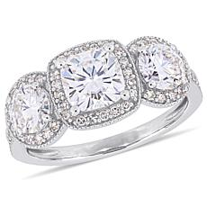 14K White Gold 2ct Moissanite and 0.28ctw Diamond 3-Stone Halo Ring
