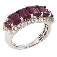 14K White Gold 3.61ctw Rhodolite and White Zircon Band Ring