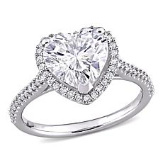14K White Gold 3ctw Moissanite and .26ctw Diamond Heart Halo Ring