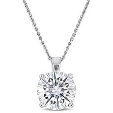14K White Gold 4ct Moissanite Round Solitaire Pendant with Chain