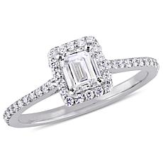 14K White Gold .75ctw Diamond Emerald-Cut Halo Engagement Ring