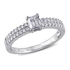 14K White Gold .75ctw Emerald & Round White Diamond Ring