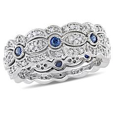 14K White Gold .84ctw Sapphire & Diamond Stacking Band Rings Set of 3