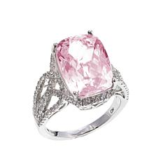 14K White Gold 8.63ctw Pink Kunzite and Zircon Ring